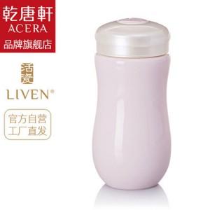 乾唐轩活瓷杯 甜心随身杯 380cml 单层 带盖陶瓷水杯子 女生礼物